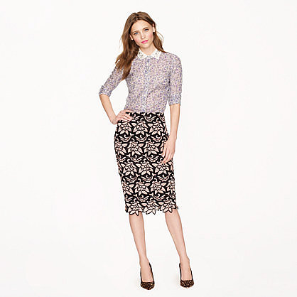 Collection No. 2 pencil skirt in Italian guipure lace