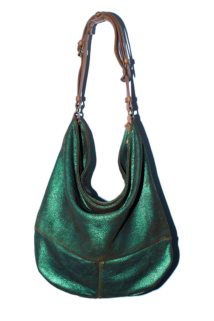 The Tony Bag in emerald lamé suede Photo courtesy of Jerome Dreyfuss