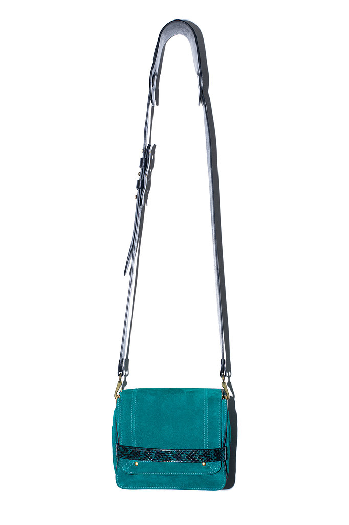The Nicolas Bag in emerald goatskin Photo courtesy of Jerome Dreyfuss