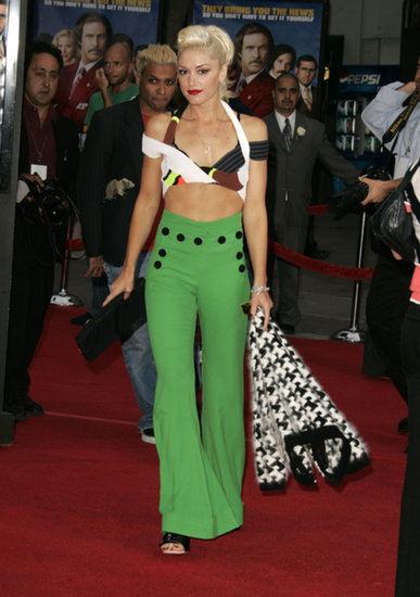 She showed off her abs in an ornate Vivienne Westwood top and high-waisted emerald trousers at the Anchorman premiere in 2004.