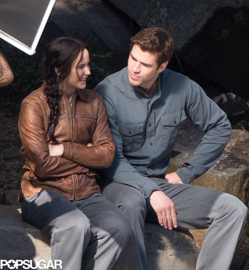 Jennifer Lawrence smirked on set with Liam Hemsworth.
