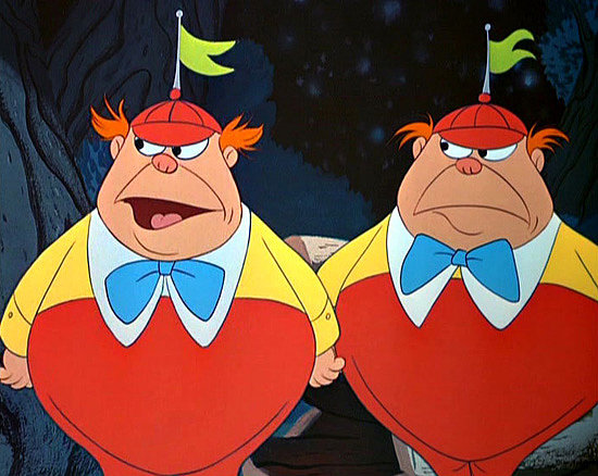 Tweedle Dee and Tweedle Dumb  What to wear for both: Red pants, yellow shirt, blue bow tie, and a red hat with a green flag. How to act: Walk side-by-side, bellies out. Repeat each other's sentences, squeak, honk, and dance.