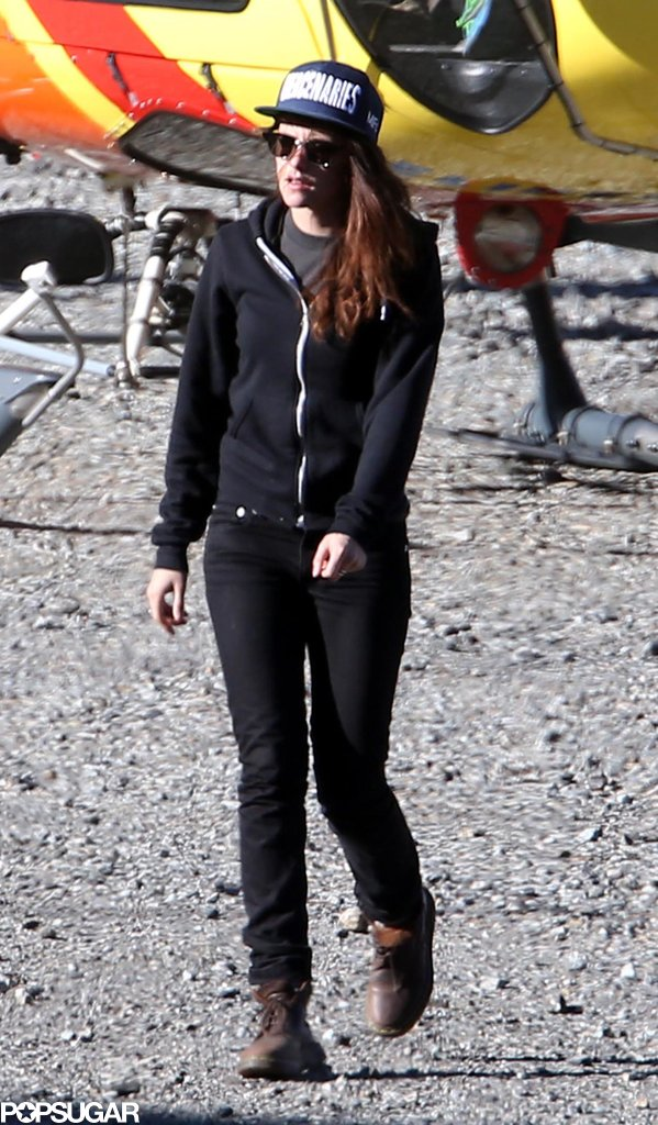 Kristen Stewart got off a helicopter one day on set.
