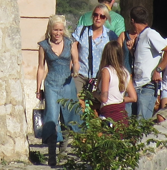 Emilia Clarke as Daenerys Targaryen on the set of Game of Thrones.