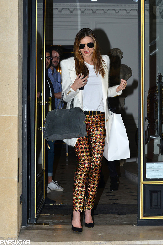 Miranda Kerr went shopping at the Balmain store in Paris.