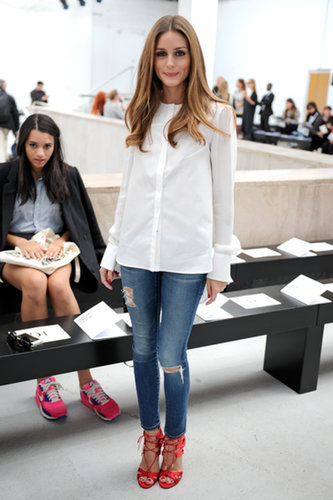 Olivia showed at Veronique Leroy that something as simple as a white shirt and jeans can be front-row ready — all you need is a pair of killer shoes.