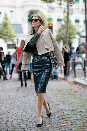 Sarah Rutson perfected the sophisticate's play on leather in a pencil skirt and a cropped trench.