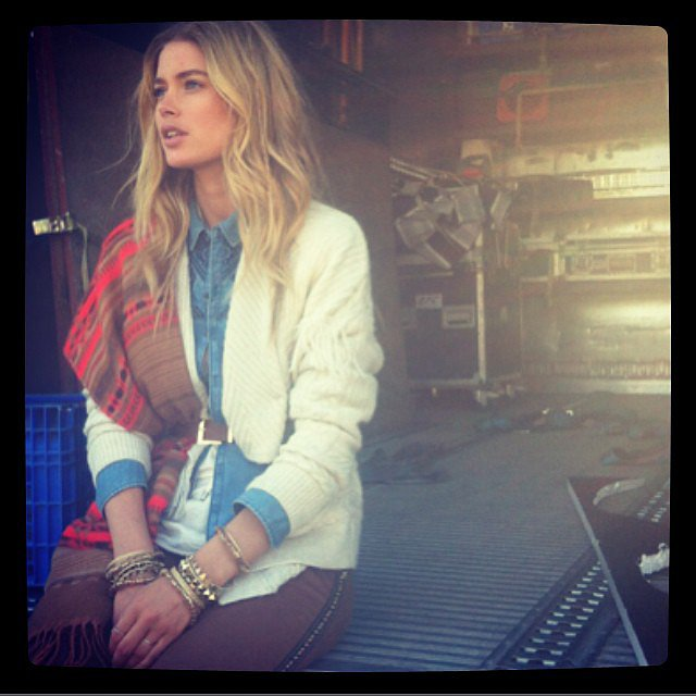 Doutzen Kroes gave us a glimpse of her H&M Fall campaign shoot. Source: Instagram user doutzen