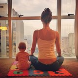Gisele Bündchen did some morning yoga with her baby daughter, Vivian Brady. Source: Instagram user giseleofficial