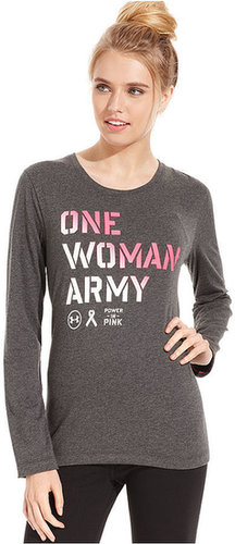Under Armour Top, Long-Sleeve Power-In-Pink Tee