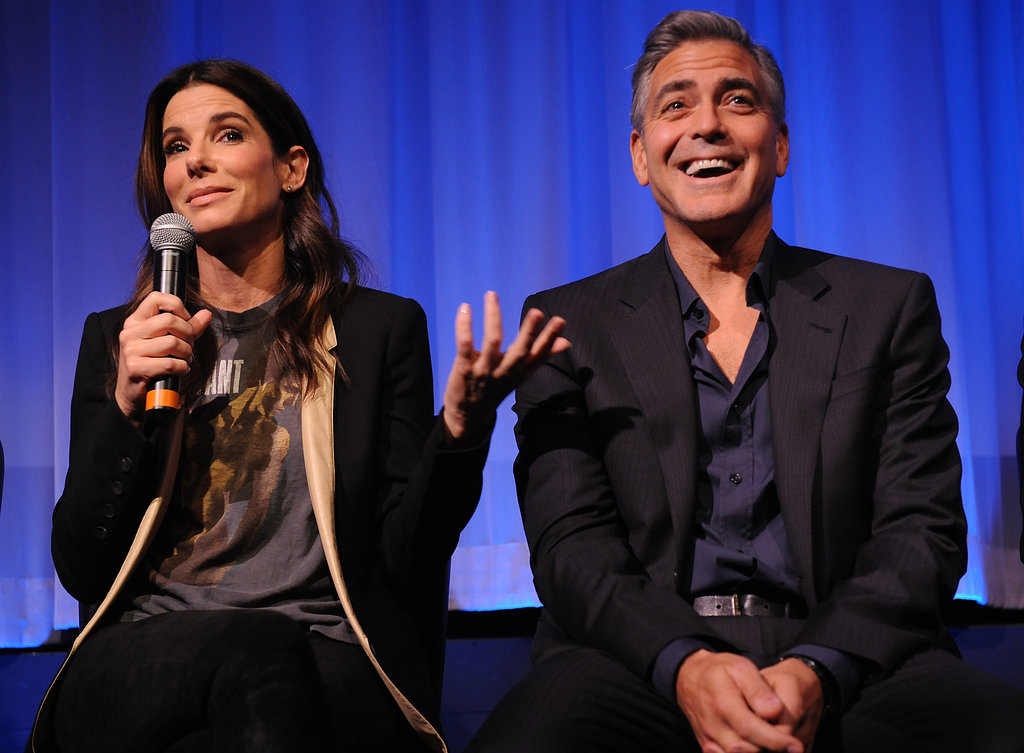 Sandra Bullock elicited a few laughs out of costar George Clooney while the two spoke at an NYC screening of Gravity.
