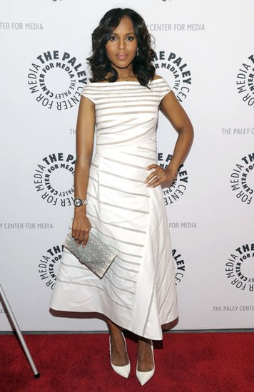 Kerry had a chic monochromatic moment in a white, sheer, and striped off-the-shoulder gown with textured pumps and a Hunting Season clutch at the She's Making Media: Kerry Washington event in NYC.