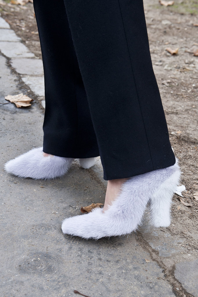 Fuzzy heels were made for the streets of Fashion Week.