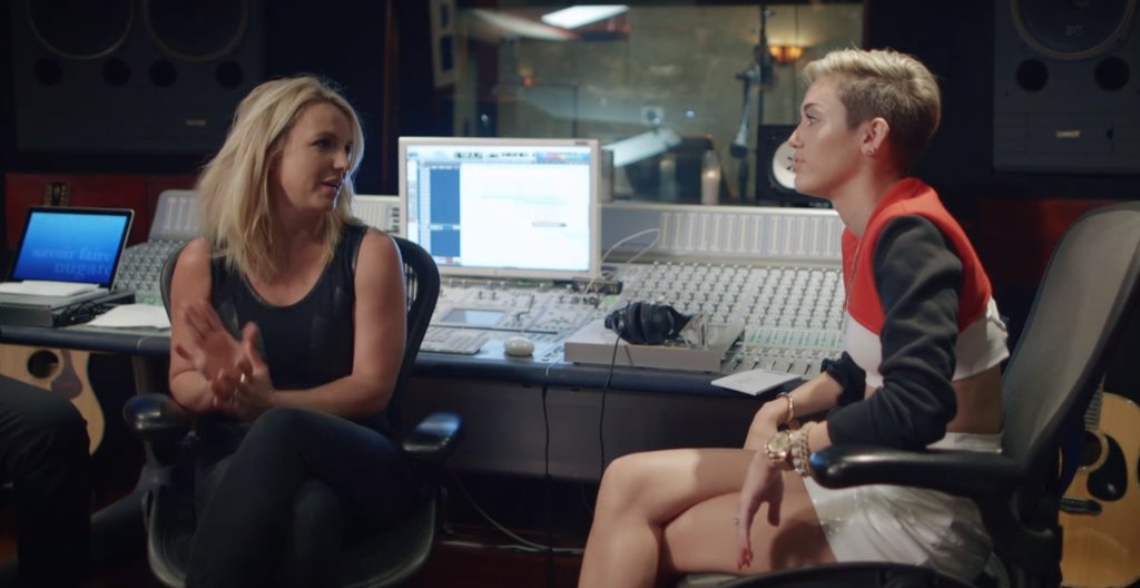 "On Oct. 2, MTV released its documentary about Miley Cyrus, called Miley: The Movement. The film follows the singer as she works on Bangerz and prepares for her VMAs performance. At one point, she sits down with Britney Spears while the two work on their song, ""SMS (Bangerz),"" and gets advice from the superstar about how to prepare for the VMAs. The movie also gives insight on Miley's approach to her image, how she doesn't think she's in a ""transitional phase,"" and how her MTV performance was a ""strategic hot mess."" Source: MTV"