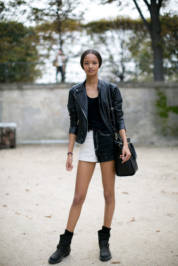 A leather jacket up top (and legs for days on bottom).
