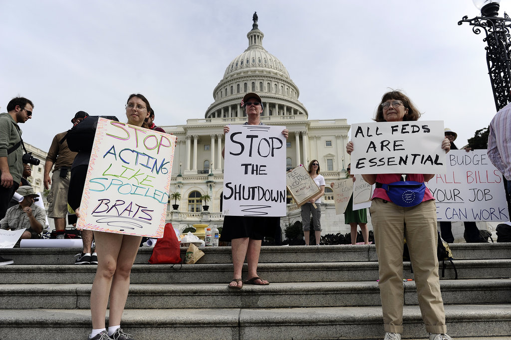 People took to the steps of the US Capitol to protest the government shutdown.