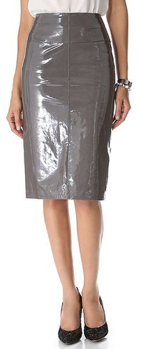Maison ullens Laminated Leather Skirt