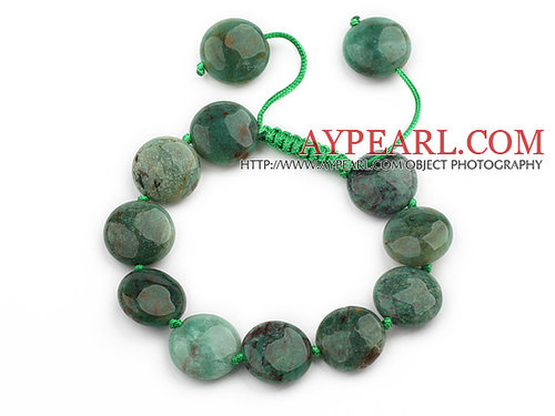 Green Series Flat Round Dragon Blood Stone Knotted Adjustable Drawstring Bracelet