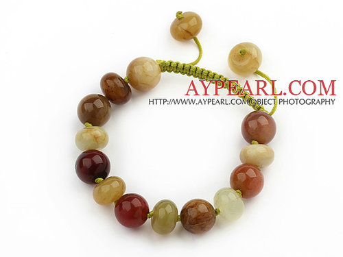 Marquise Shape Colorful Three Colored Jade Knotted Adjustable Drawstring Bracelet