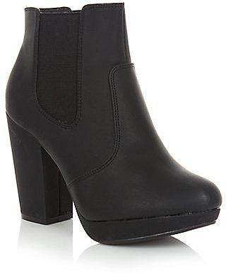 Wide Fit Black Chelsea Block Heel Ankle Boot