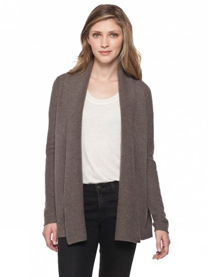 White + Warren Cashmere Link Stitch Collar Cardigan