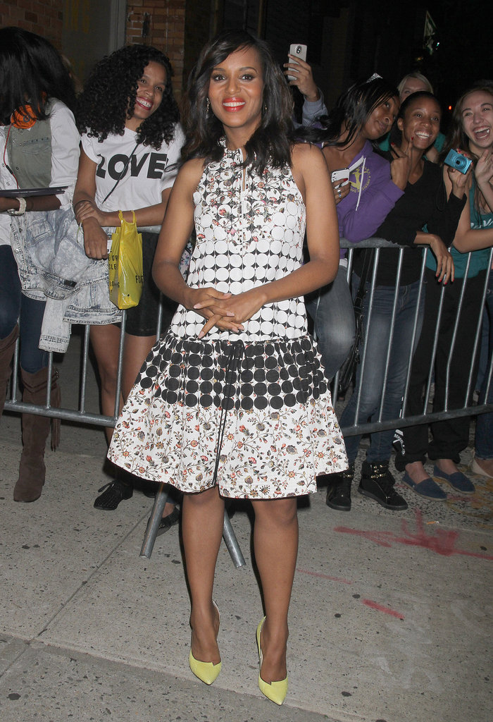 As the star of this week's most buzzed-about TV moment (Scandal is back!), Kerry Washington had plenty of opportunities to show off flirty dresses. It was this floral-and-dot style from Brood that grabbed our attention the most — and those yellow pumps!