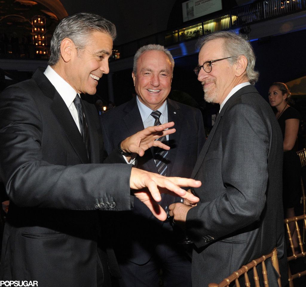 George Clooney joked around with Lorne Michaels and Steven Spielberg.