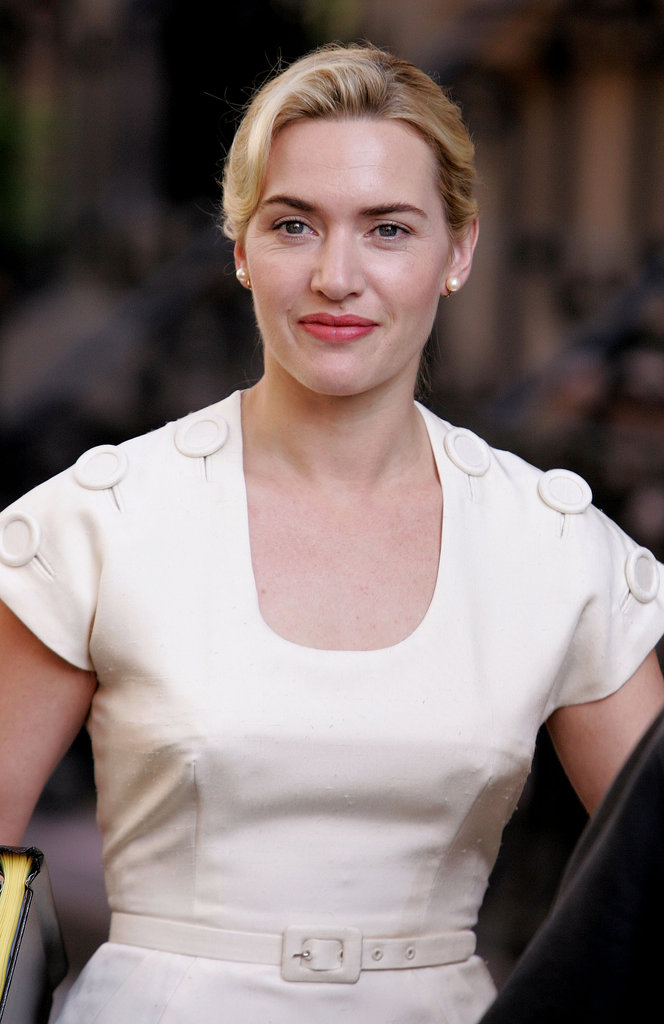 On set for Revolutionary Road in 2007, Kate Winslet took on the hair and makeup of the '50s for her role.