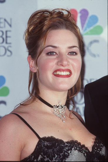 Kate's auburn hair, moody lip hue, and bold brows were a sign of the times at the 1998 Golden Globe Awards.