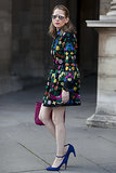 Melissa Liebling-Goldberg, POPSUGAR's fashion and beauty director, opted for a bold ASOS dress accented with colorful extras and mirrored Cynthia Rowley shades.