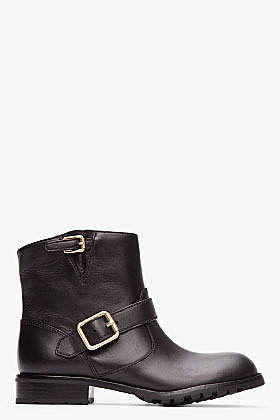 MARC BY MARC JACOBS Black Classic Leather Short Buckled Moto Boots