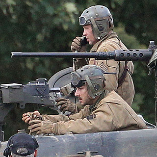 Brad Pitt and Shia LaBeouf on the Fury Set in London