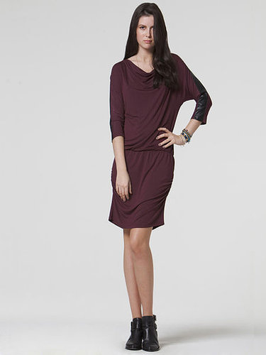 Draped neck dress with faux leather detail