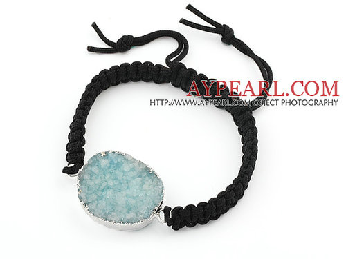 Simple Design Oval Shape Crystallized Skye Blue Agate Adjustable Drawstring Bracelet