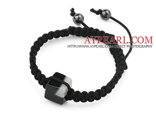 Simple Design Square Shape Black Brazil Striped Agate and Hematite Beads Adjustable Drawstring Bracelet