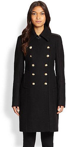 SAM. Leather-Trimmed Officer's Coat