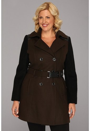 DKNY - Trench w/ Boiled Wool Sleeve Coat (Military Green) - Apparel