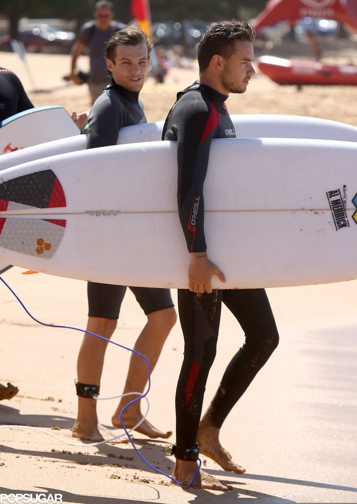 One Direction's Louis Tomlinson and Liam Payne went surfing together in Australia.