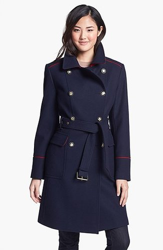 Vince Camuto Contrast Piping Belted Military Coat