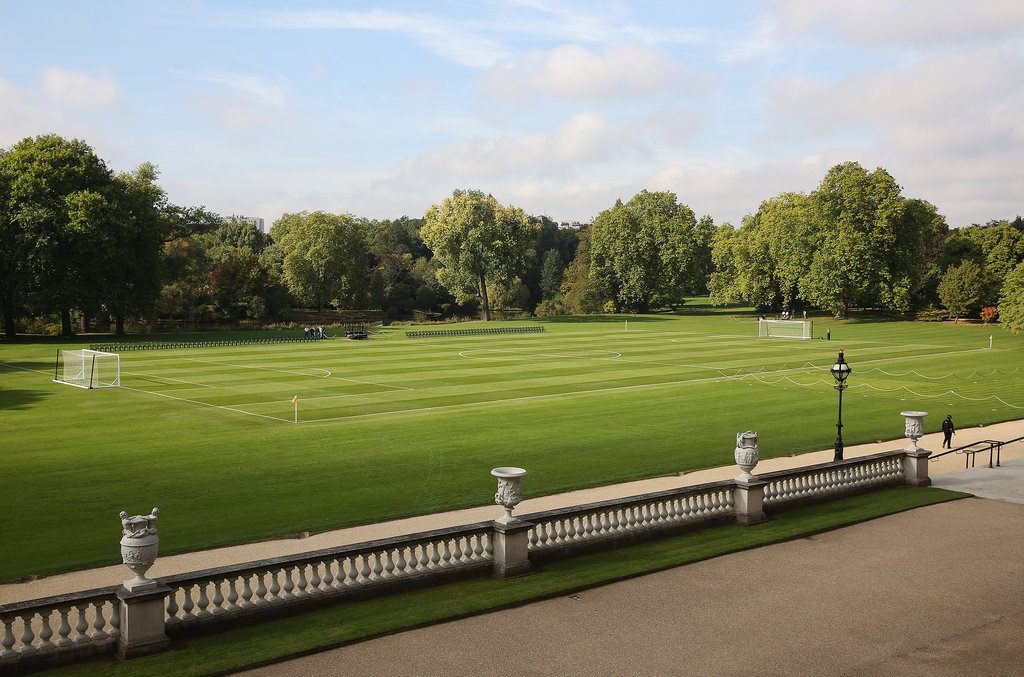 The grounds at Buckingham Palace were prepared for the first-ever soccer match at the palace.