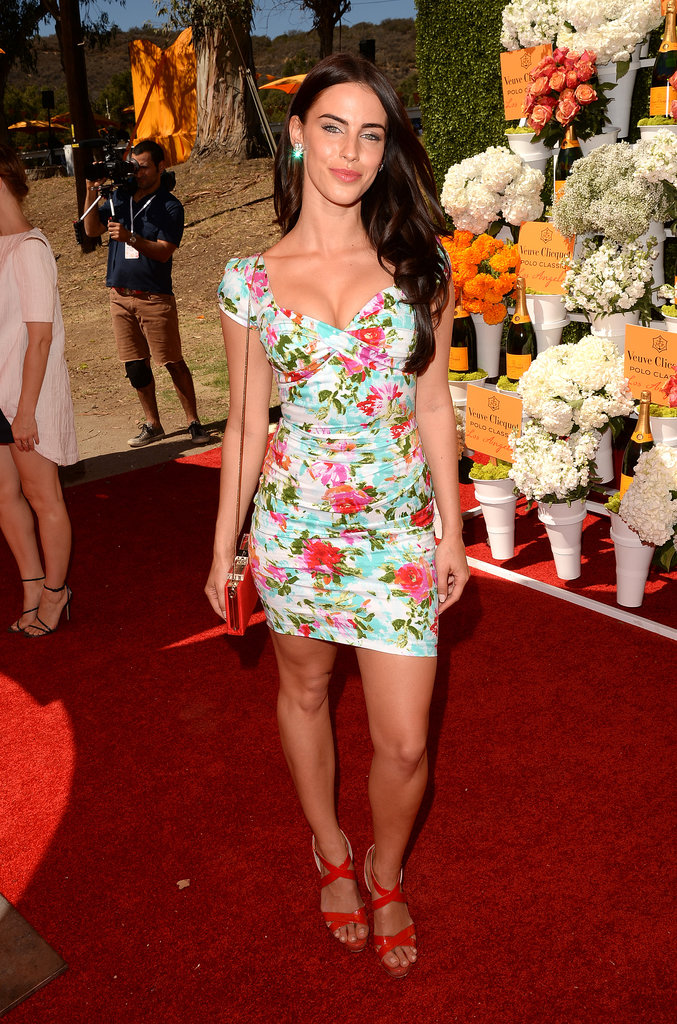 Jessica Lowndes stood out in her floral minidress and red strappy sandals at the Veuve Clicquot Polo Classic.