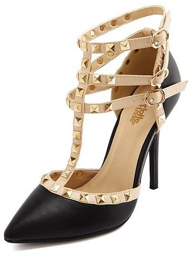 Studded T-Strap Pointy Toe Pump