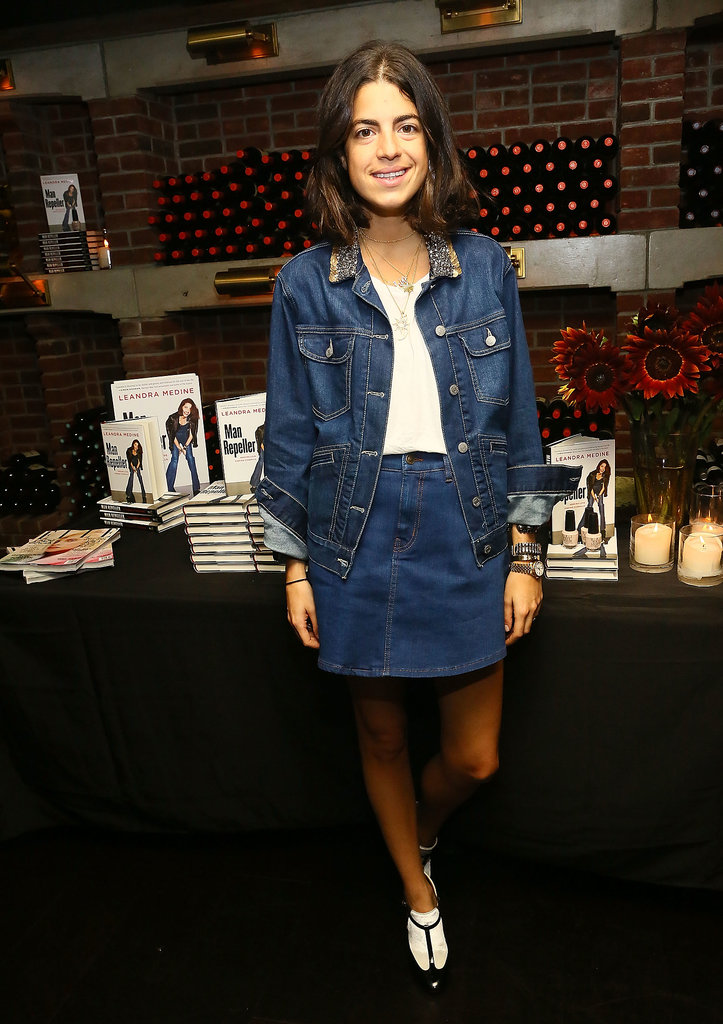 Leandra Medine paired denim with denim at her OPI and Elle bash.