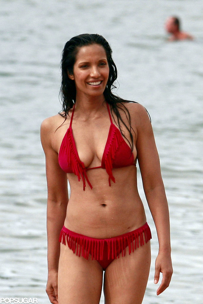 Padma Lakshmi wore a red fringed bikini.