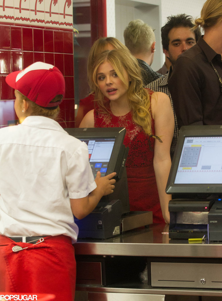 Chloë Moretz ordered food.