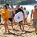 Lifeguards tried to control the fan situation when two of the One Direction boys went surfing at Whale Beach.
