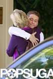 Matthew Morrison and Jane Lynch shared a hug outside the hotel.