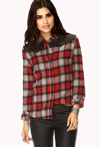 FOREVER 21 Remixed Plaid Flannel