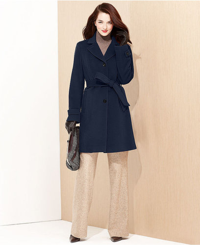 Anne Klein Petite Coat, Belted Cashmere-Wool-Blend