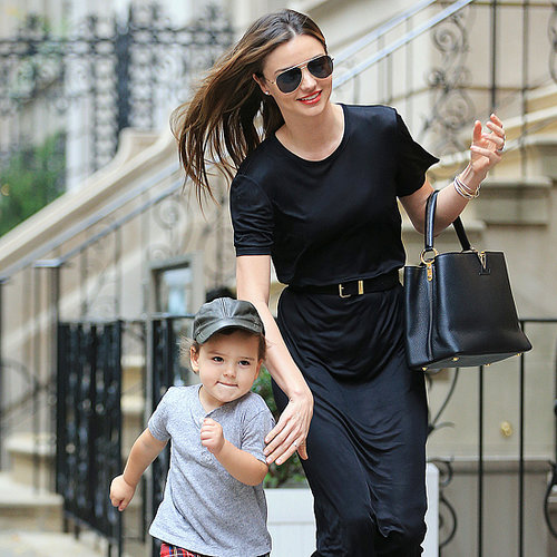 Cute Flynn Bloom Waving in NYC With Miranda Kerr